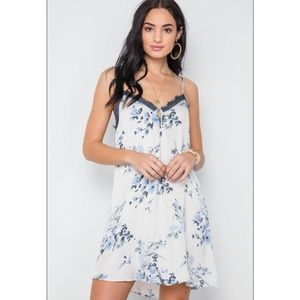 Dresses & Skirts - IVORY & FLORAL LACE TRIM SLIP CAMI MINI DRESS